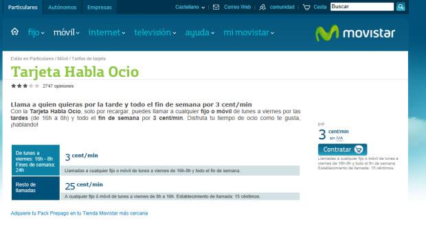 Movistar y sus tarifas