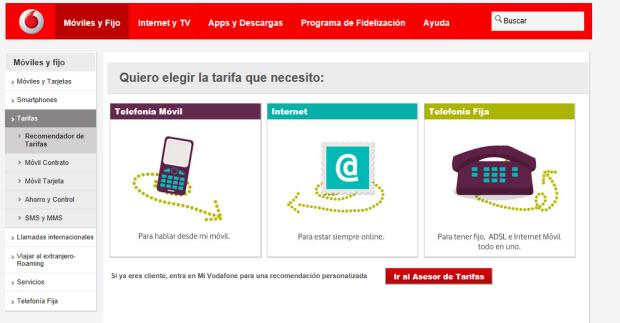 Vodafone, buscador de tarifas