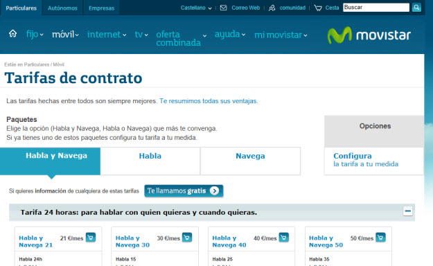tarifas Movistar móvil