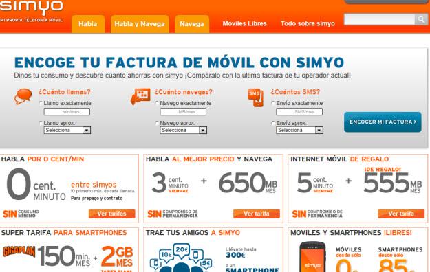 Móviles libres con portabilidad en Simyo