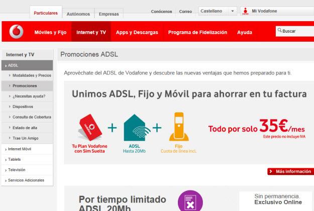 otras ofertas ADSL sin permanencia en Vodafone