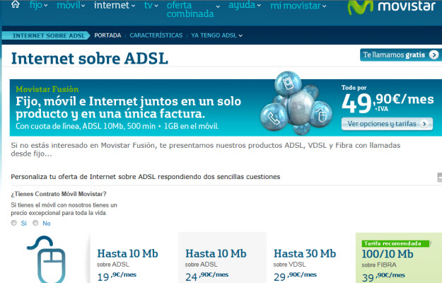 Comparativa de internet fijo en Movistar