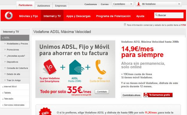 Promociones ADSL más móvil en Vodafone