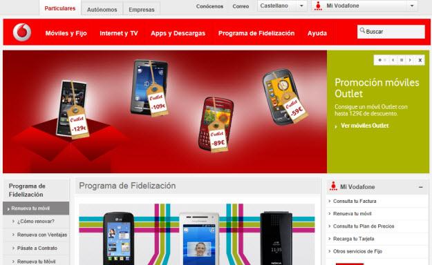 Vodafone móviles con puntos 2012