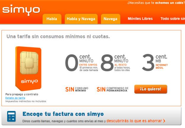 Compañía móvil más barata 2013 Simyo