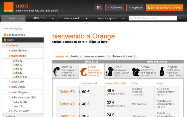 Comparador de telefonía móvil en Orange