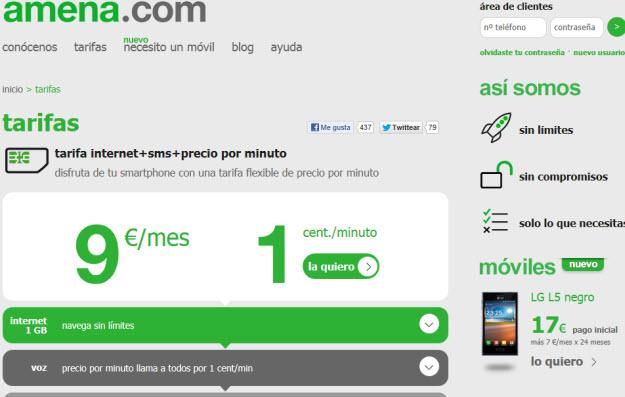 Comparativa precios operadores móviles 2013 en Amena