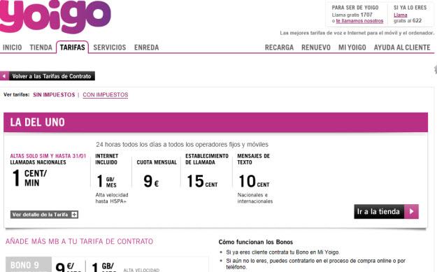 Comparativa precios operadores móviles 2013 en Yoigo