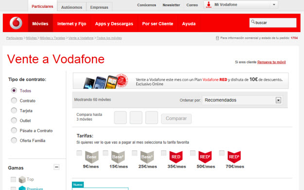 Móviles por cambiarte a Vodafone