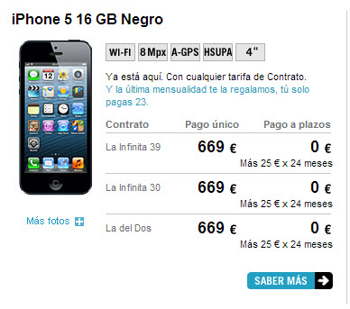 Tarifas de movil con iphone 5 en 2013