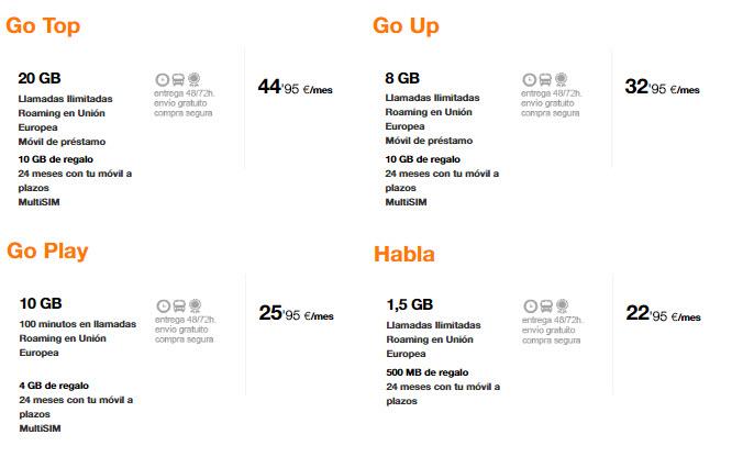 tarifas para tablets orange