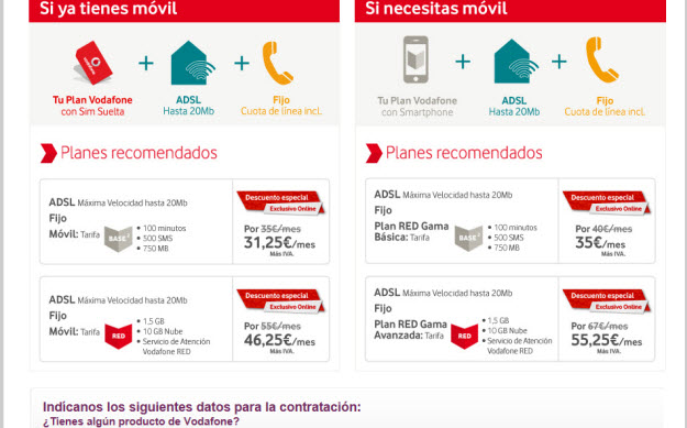 Alternativas a Vodafone Base 1 Adsl