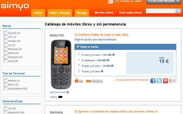 Comparativa móviles Simyo