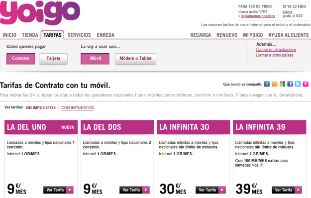 Comparativa tarifas móviles de Yoigo