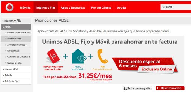 ADSL más barato en Vodafone