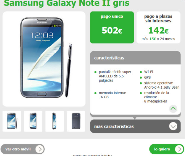 Alternativa a Samsung Galaxy Note Yoigo
