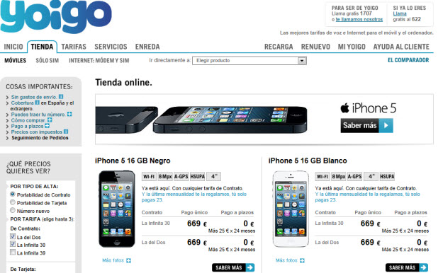 Comparación de móviles en Yoigo