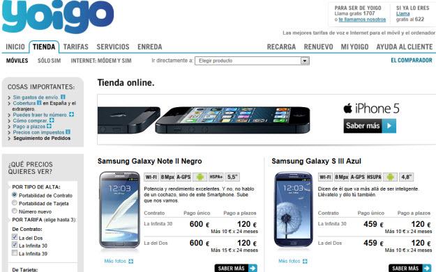 Comparar smartphones de Yoigo de Samsung