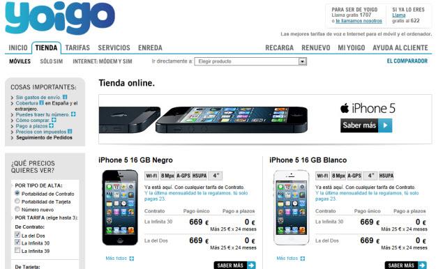 Comparar smartphones de Yoigo