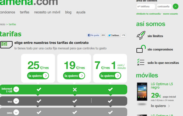 Comparar tarifas móviles en Amena