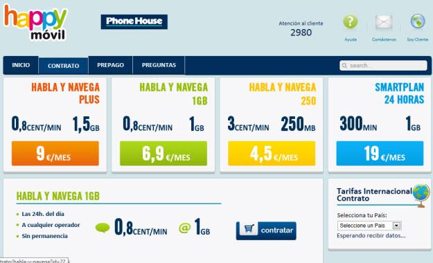 Comparar tarifas móviles en Happy Movil