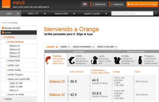 Comparativa de tarifas de móviles en Orange