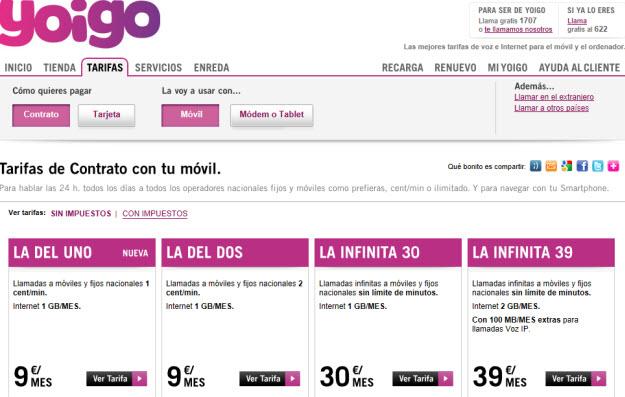 Comparativa de tarifas de móviles en Yoigo