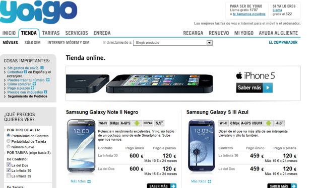 Comparativa móviles Samsung