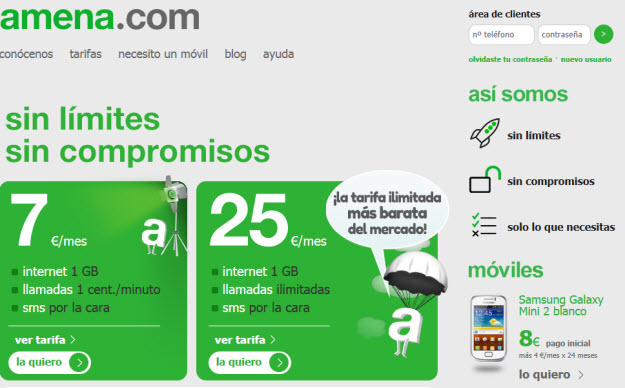 Comparativa tarifas móviles en Amena