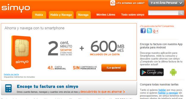 Internet móvil comparativa Simyo