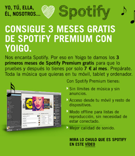 Spotify premium con Yoigo