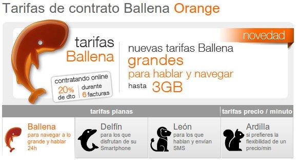 La tarifa ballena orange al detalle