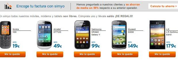 Comparativa de móviles: las ofertas de Simyo