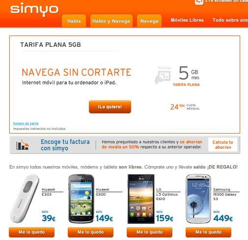 Navega desde tu móvil con las ofertas Internet Simyo