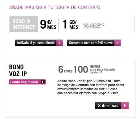 Bonos y tarifas para tablet de Yoigo