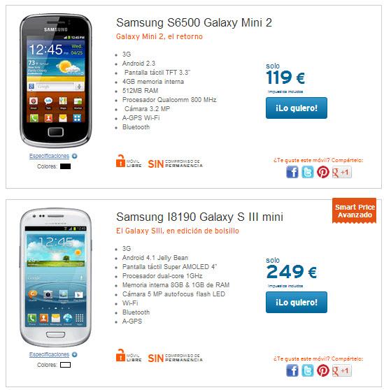 Comparación de móviles