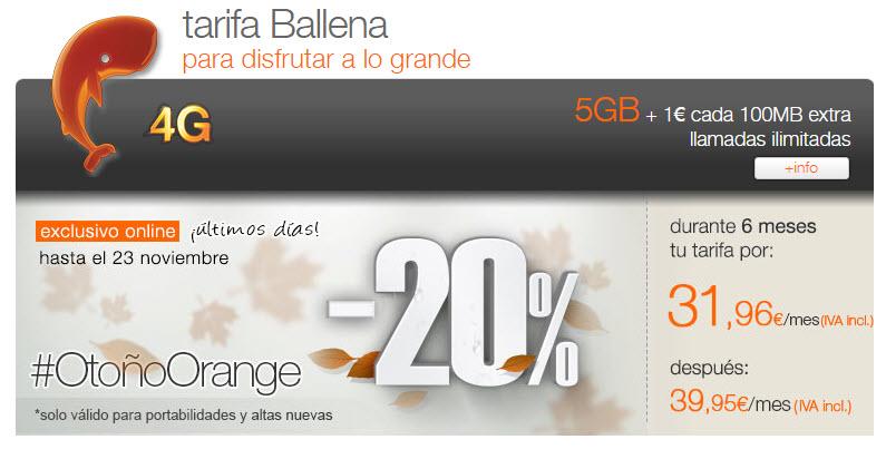 tarifa ballena Orange contrato