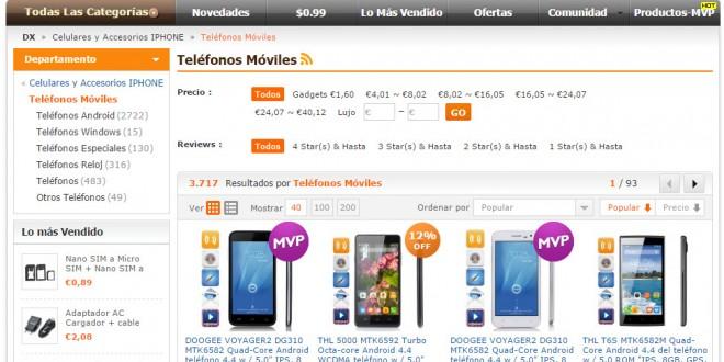 Dealextreme España: opiniones sobre móviles chinos