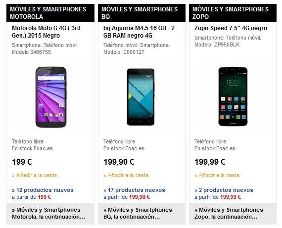 Fnac móviles precios