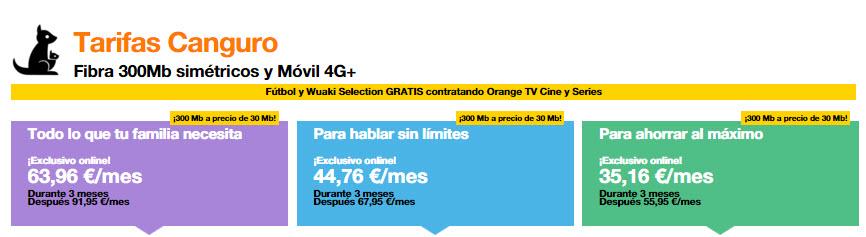 tarifas canguro orange 2016