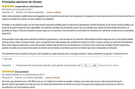 Amazon Fire experiencias