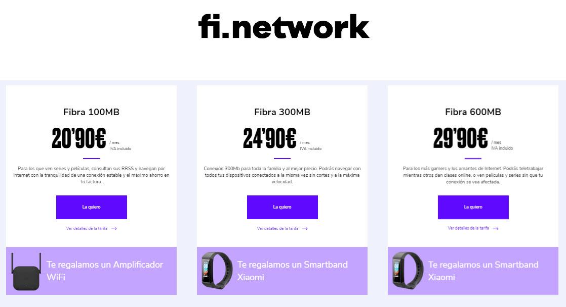 fi network tarifas fibra